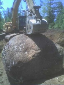 Large Rock Removed from Road in Peterborough NH